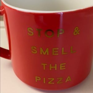 Threshold stop and smell the pizza coffee mug read
